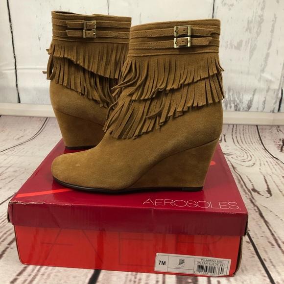 0df2d18cb22 Aerosoles NIB fringe booties wedge heels size 7